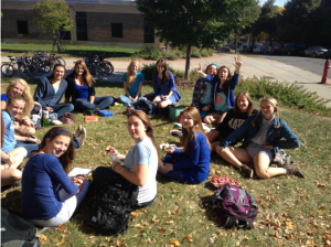 Junior girl lunch group showing off class pride.