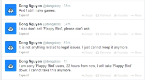 Flappy Bird creator Dong Ha Nguyen's tweets.